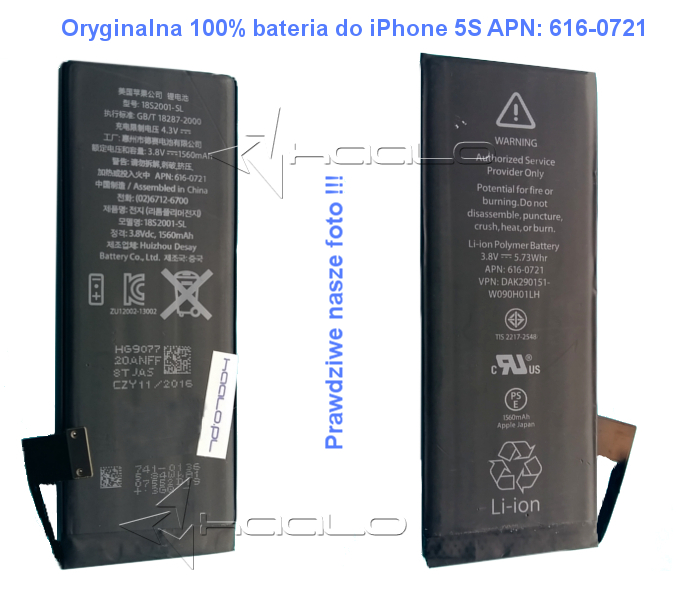 Oryginalna bateria iPhone 5s 616-0721
