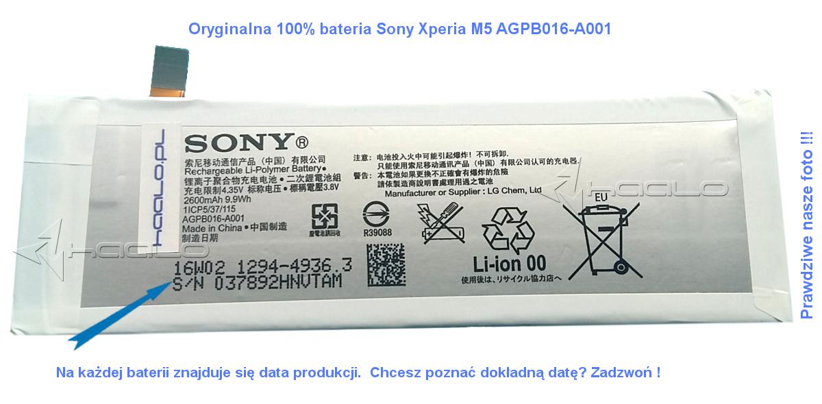 Oryginalna Bateria Sony AGPB016-A001 Sony Xperia M5