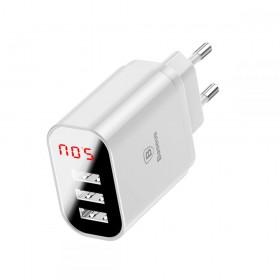 ŁADOWARKA SIECIOWA BASEUS LED Z 3 PORTAMI USB