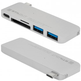 Stilgut - USB Hub z funkcją ładowan, Typ-C, silver