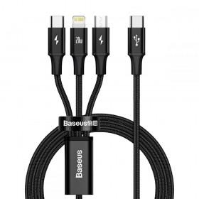 BASEUS RAPID 3IN1 TYPE-C & LIGHTNING & MICRO-USB CABLE PD20W 150CM BLACK