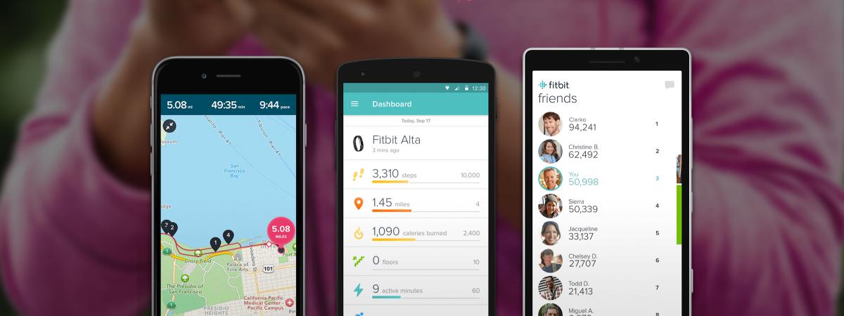 Sportowa opaska fitbit alta z aplikacją fitbit monitorującą aktywność