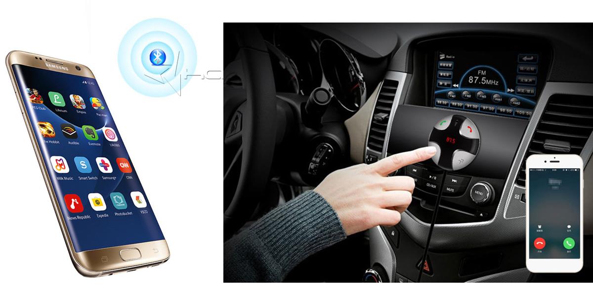 Transmiter FM Bluetooth z ładowarką samochodową
